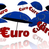 Euro bailout fund. Red umbrella with the word euro royalty free illustration