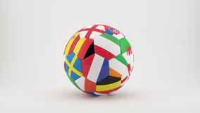 Euro 2016 Ball. 3D soccer ball with  country flags of the participants for Euro 2016. Background  with clipping path Stock Photos