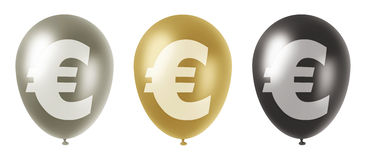 Euro balloons set. Set of three balloons of silver, gold and black colors with a euro currency symbol on them Vector Illustration