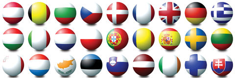 Euro Balls. 27 coloured balls representing the 27 nations of the European Union Royalty Free Stock Image