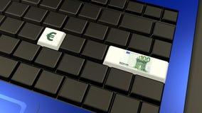 Euro banconota e segno sulla tastiera del computer portatile Fotografia Stock Libera da Diritti