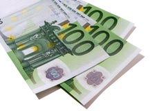 Euro 100 banconote Immagine Stock Libera da Diritti