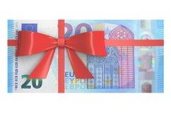20 euro banconote con l'arco rosso, concetto del regalo renderin 3D Fotografie Stock
