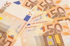 Euro banconote dei soldi Euro 50 Fotografia Stock Libera da Diritti