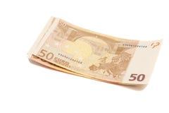 Euro banconote dei soldi Euro 50 Fotografia Stock