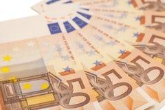 Euro banconote dei soldi Euro 50 Fotografie Stock