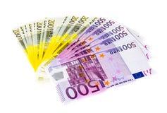 Euro banconote dei soldi isolate su fondo bianco Immagini Stock Libere da Diritti