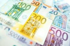Euro banconote dei soldi, mucchio di euro banconote di carta Fotografia Stock Libera da Diritti