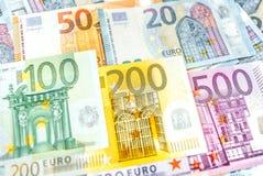 Euro banconote dei soldi, mucchio di euro banconote di carta Fotografia Stock