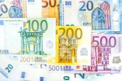 Euro banconote dei soldi, mucchio di euro banconote di carta Fotografie Stock