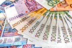 Euro banconote dei soldi, mucchio di euro banconote di carta Immagini Stock Libere da Diritti