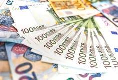 Euro banconote dei soldi, mucchio di euro banconote di carta Immagine Stock