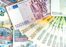 Euro banconote dei soldi, mucchio di euro banconote di carta Fotografie Stock Libere da Diritti