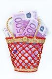 Euro banconote dei soldi in un piccolo canestro, isolato Immagini Stock Libere da Diritti