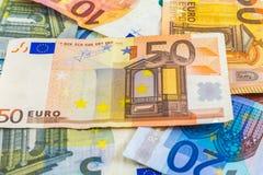 Euro banconote dell'europeo dei soldi Fotografia Stock