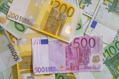 Euro banconote di carta dei soldi Immagine Stock