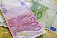 Euro banconote di carta dei soldi Fotografia Stock