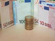 Euro banconote di EUR e monete, Unione Europea UE Fotografia Stock