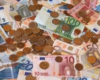 Euro banconote di EUR e monete, Unione Europea UE Immagini Stock Libere da Diritti