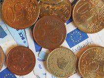 Euro banconote di EUR e monete, Unione Europea UE Fotografie Stock Libere da Diritti