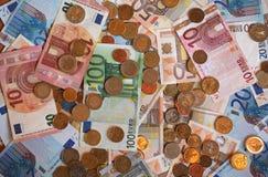 Euro banconote di EUR e monete, Unione Europea UE Fotografia Stock Libera da Diritti