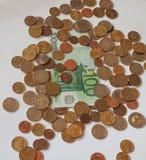 Euro banconote di EUR e monete, Unione Europea UE Immagini Stock