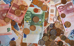 Euro banconote di EUR e monete, Unione Europea UE Fotografie Stock
