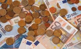 Euro banconote di EUR e monete, Unione Europea UE Immagine Stock