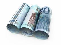 20 euro banconote di rotolamento Fotografie Stock