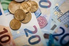 Euro banconote differenti da 5 all'euro 500 Fotografia Stock