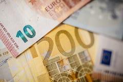 Euro banconote differenti da 5 all'euro 500 Immagine Stock Libera da Diritti