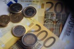 Euro banconote differenti da 5 all'euro 500 Fotografie Stock Libere da Diritti