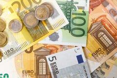 Euro banconote differenti da 5 all'euro 500 Immagine Stock