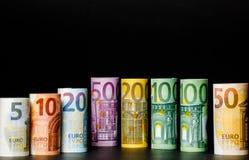 Euro banconote differenti da 5 all'euro 500 Fotografie Stock