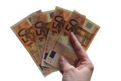 Euro banconote a disposizione Fotografia Stock