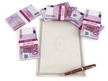 Euro banconote intorno ad un documento in bianco Fotografia Stock