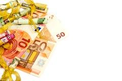 Euro banconote isolate su un fondo bianco Immagine Stock Libera da Diritti