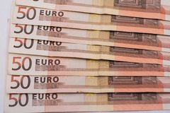 50 euro banconote su Libro Bianco Fotografie Stock