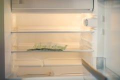 Euro banconote in un frigorifero vuoto: una manciata di 100 banconote degli euro in un frigorifero vuoto Soldi femminili della pr Fotografia Stock