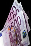 500 euro banconote in una fila Fotografie Stock