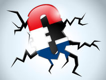 Euro bandierina dei Paesi Bassi di crisi dei soldi Immagine Stock