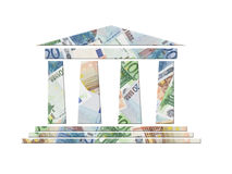 Euro bank. Bank icon with superimposed background of twenty, fifty and one hundred euro banknotes Stock Photo