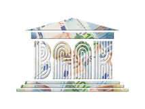 Euro bank. Bank icon with superimposed background of twenty, fifty and one hundred euro banknotes Royalty Free Stock Photo