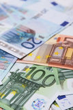 Euro bank note. A collection of 20, 50 and 100 euro bank notes stock images