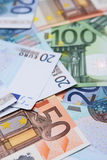 Euro bank note. A collection of 20, 50 and 100 euro bank notes Stock Photo