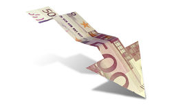 Euro Bank Note Downward Trend Arrow Royalty Free Stock Photos