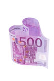 Euro bank note in the form of a heart Royalty Free Stock Image