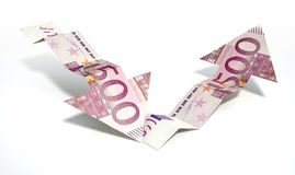 Euro Bank Note Recovery Trend Arrows. Two arrow graph trend shaped 500 euro bank notes showing an economic downward trend recovering to an upward trend on an Royalty Free Stock Photo