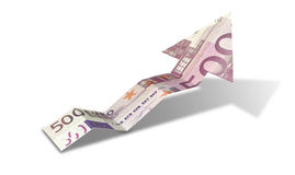 Euro Bank Note Upward Trend Arrow Royalty Free Stock Photos