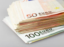 Euro bank notes. Isolated pile of money on white background Royalty Free Stock Photo